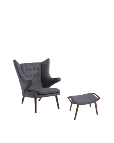 Furniture Contempo Royal Chair and Ottoman Set, Grey