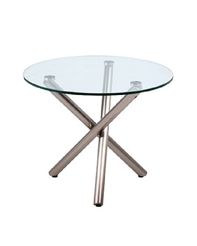 Furniture Contempo Luxe Side Table, Clear/Brushed Nickel