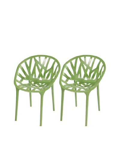 Furniture Contempo Set of 2 Oprah Chairs, Green