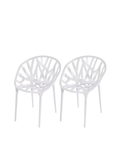 Furniture Contempo Set of 2 Oprah Chairs, White