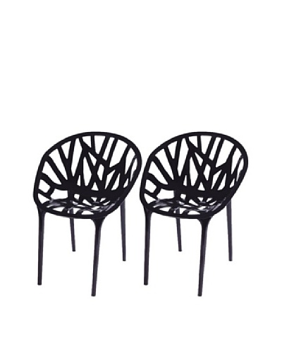 Furniture Contempo Set of 2 Oprah Chairs, Black