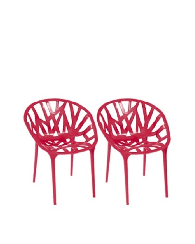 Furniture Contempo Set of 2 Oprah Chairs, Red