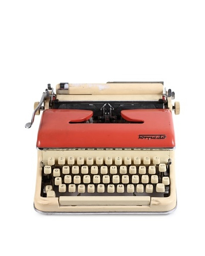 Torpedo Vintage Typewriter, Ivory/Pink