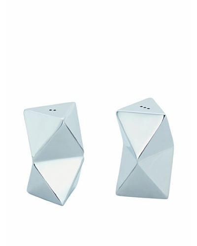 Torre & Tagus Set of 2 Cubix Salt & Pepper Shakers, Silver