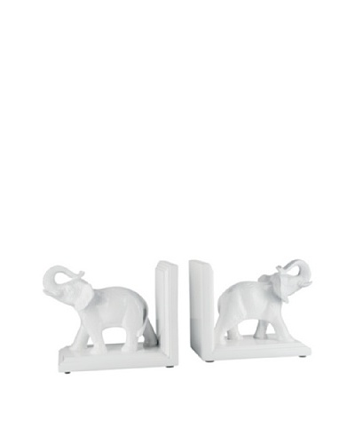 Torre & Tagus Set of 2 Tambo Elephant Bookends, White