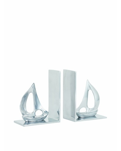 Torre & Tagus Set of 2 Sailboat Bookends, Silver