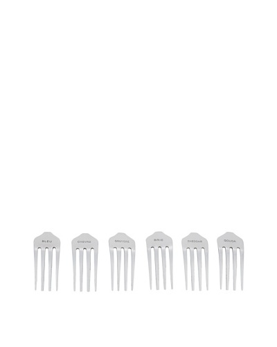 Torre & Tagus Set of 6 Stainless Steel Cheese Markers, Fork Design