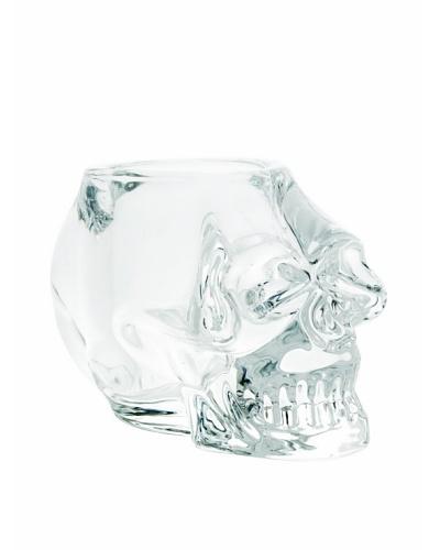 Torre & Tagus Skull Glass Tea Light Holder, Clear