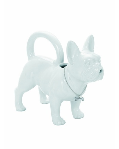Torre & Tagus French Bulldog Ceramic Watering Can, White