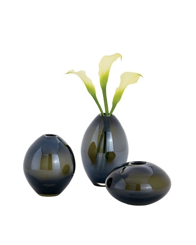 Torre & Tagus Set of 3 Mini Lustre Vases, Smoke