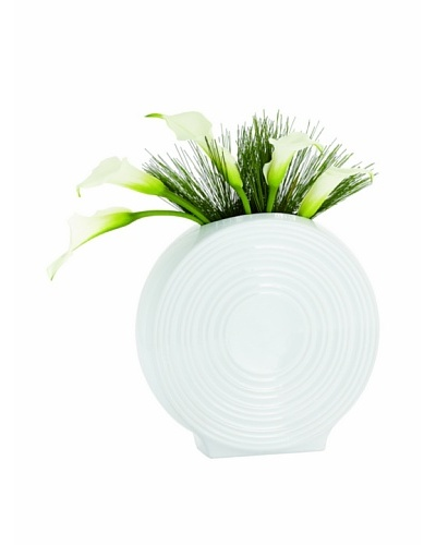 Torre & Tagus Tall Ceramic Spin Vase, White