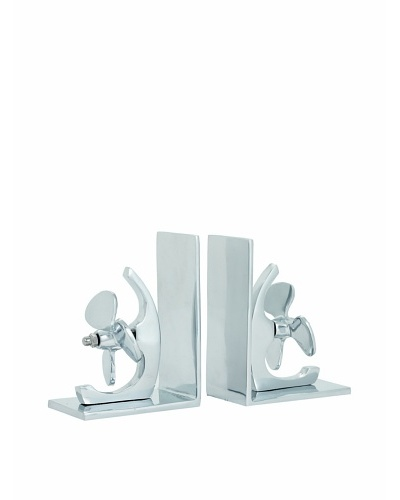 Torre & Tagus Set of 2 Propeller Bookends, Silver