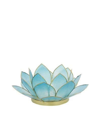 Torre & Tagus Lotus Capiz Shell Tealight Holder, Turquoise
