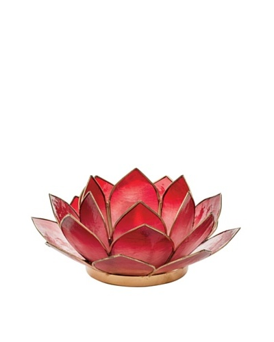 Torre & Tagus Lotus Capiz Shell Tealight Holder, Crimson