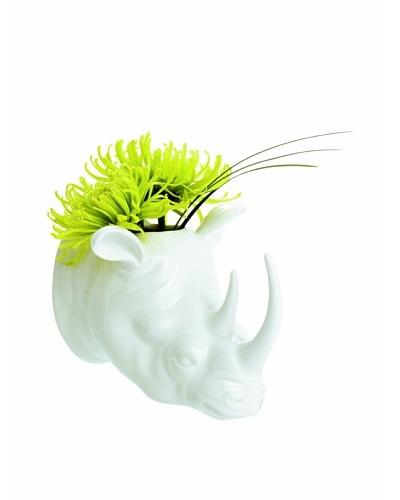 Torre & Tagus Safari Rhino Porcelain Wall Vase, White