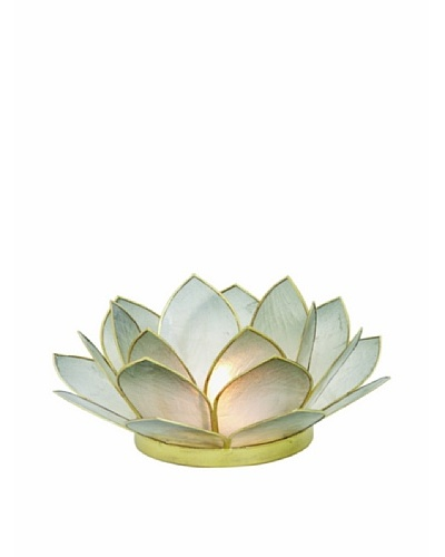 Torre & Tagus Lotus Capiz Shell Tealight Holder, Smoke