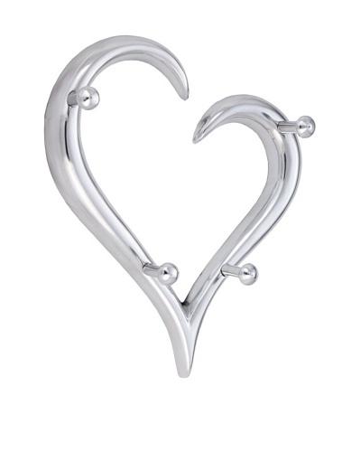 """Torre & Tagus """"Open Heart"""" Multi Wall Hook, Silver"""