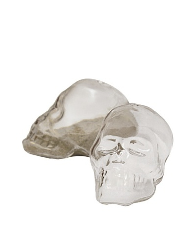 Torre and Tagus Pair of Skull Glass Salt & Pepper Shakers, Clear/Smoke