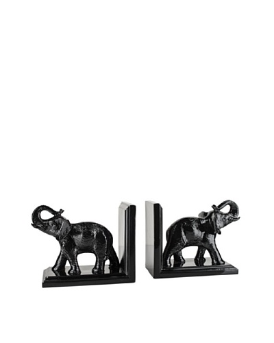 Torre & Tagus Set of 2 Tambo Elephant Bookends, Black
