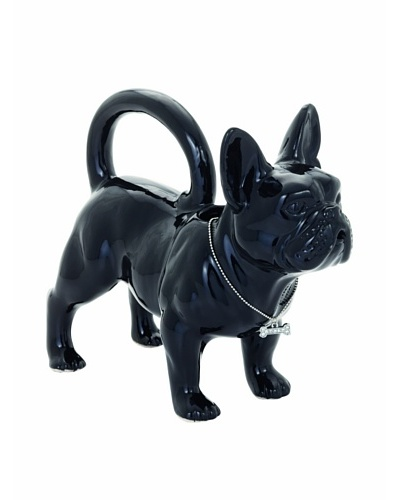 Torre & Tagus French Bulldog Ceramic Watering Can, Black