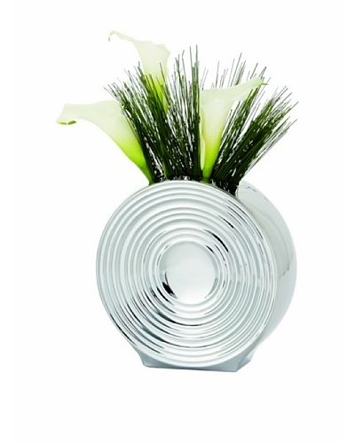 Torre & Tagus Short Ceramic Spin Vase, Chrome