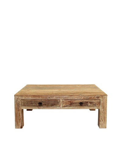 Tottenham Court Harold 2-Drawer Coffee Table, Lime Wash