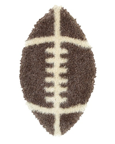 Trade-Am Senses Shag Football Rug, Brown/Beige, 2' x 4'