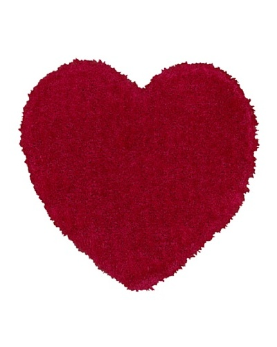 Trade-Am Senses Shag Heart Rug, Red, 5' Round
