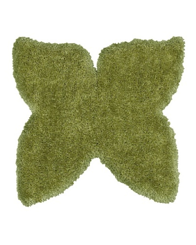 Trade-Am Senses Butterfly Shag Rug, Green, 5'