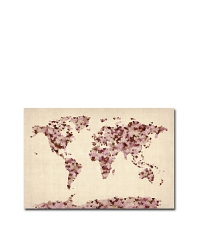 Trademark Art Michael Tompsett Vintage Hearts World Map Canvas Art