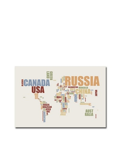 Michael Tompsett World Text Map Canvas Art