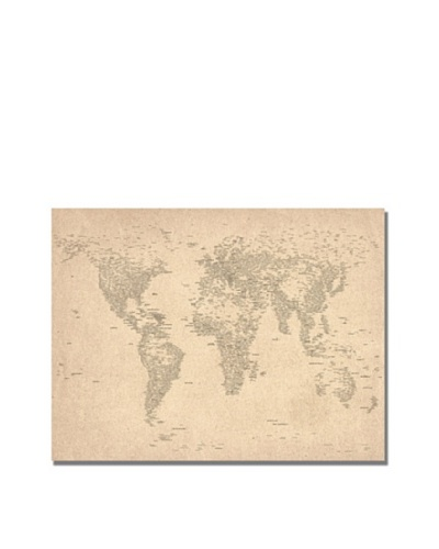 Trademark Art Michael Tompsett World Map of Cities Canvas Art