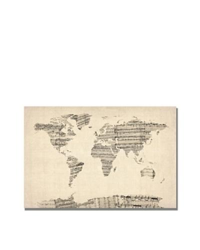Trademark Art Michael Tompsett Old Sheet Music World Map Canvas Art