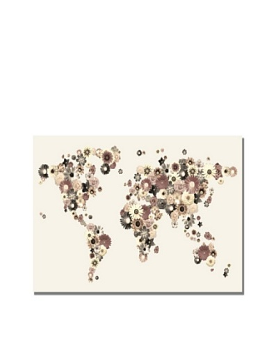 Trademark Art Michael Tompsett Flowers World Map Canvas Art
