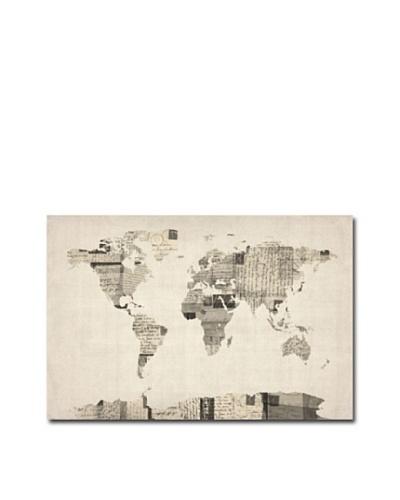 Trademark Art Michael Tompsett Vintage Postcard World Map Canvas Art