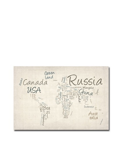 Trademark Art Michael Tompsett Typography World Map Canvas Art