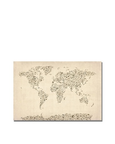 Michael Tompsett Trademark Art Music Note World Map Canvas Art