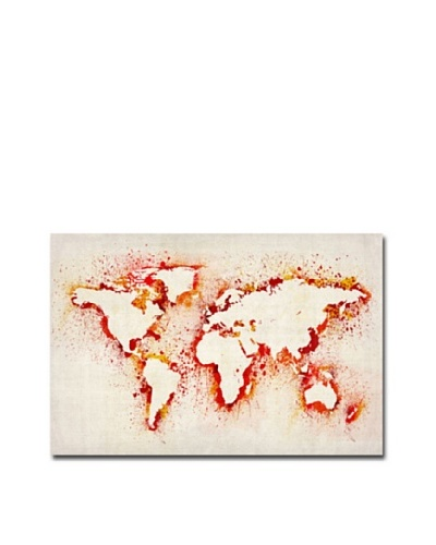 Trademark Fine Art Paint Outline World Map by Michael Tompsett Canvas Wall Art