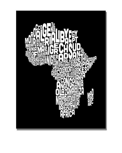 Trademark Art Michael Tompsett Africa Font World Map Canvas Art