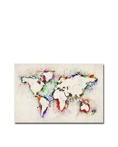 Trademark Art Michael Tompsett World Map Paint Splashes Canvas Art