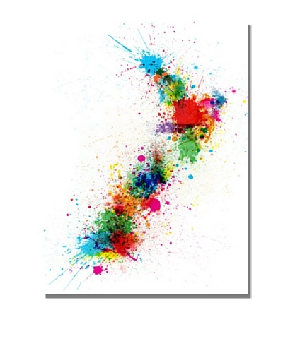 Trademark Fine Art New Zealand Paint Splashes Map by Michael Tompsett Canvas Wall Art
