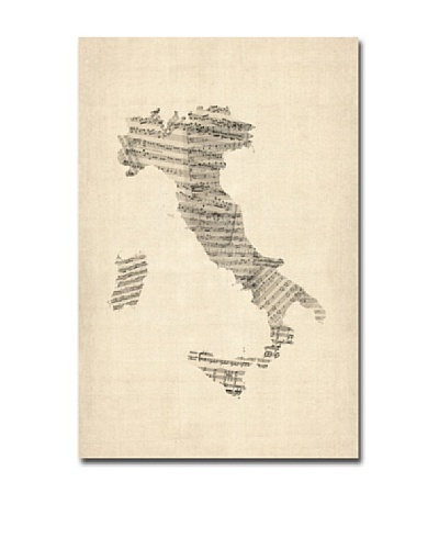 Michael Tompsett Trademark Art Italy Old Sheet Music Map Canvas Art