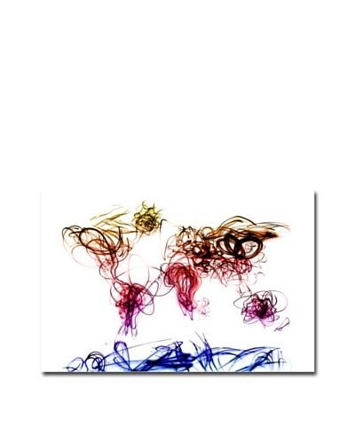 Michael Tompsett Light Writing World Map Canvas Art