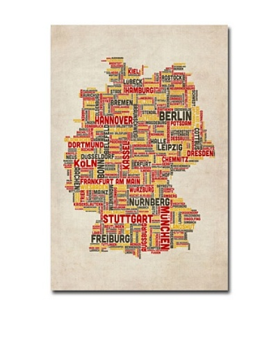 Trademark Art Michael Tompsett Germany Cities Text Map Canvas Art