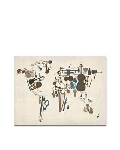 Trademark Art Michael Tompsett Instrument World Map Canvas Art