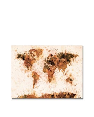 Trademark Art Michael Tompsett Bronze Paint Splash World Map Canvas Art