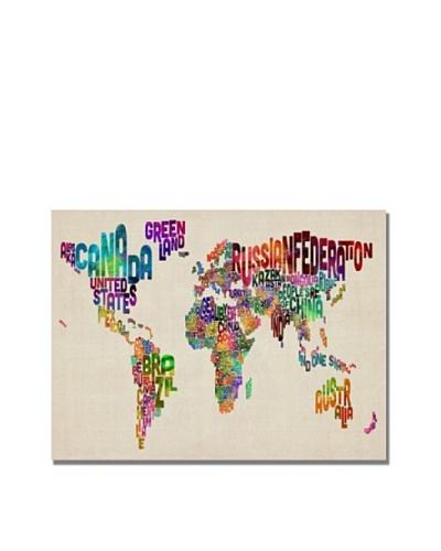 Trademark Art Michael Tompsett Typography World Map II Canvas Art