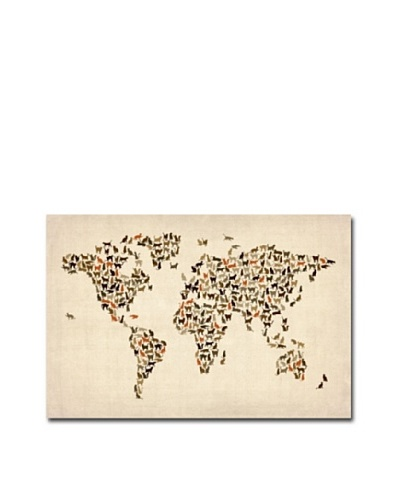 Trademark Fine Art World Map of Cats by Michael Tompsett Canvas Wall Art