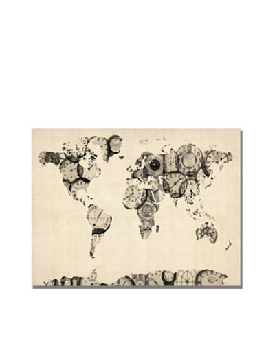 Michael Tompsett Trademark Art Old Clocks World Map Canvas Art