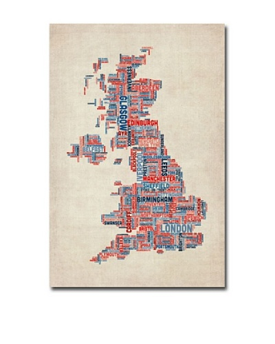 Trademark Fine Art UK Cities Text Map by Michael Tompsett Canvas Art